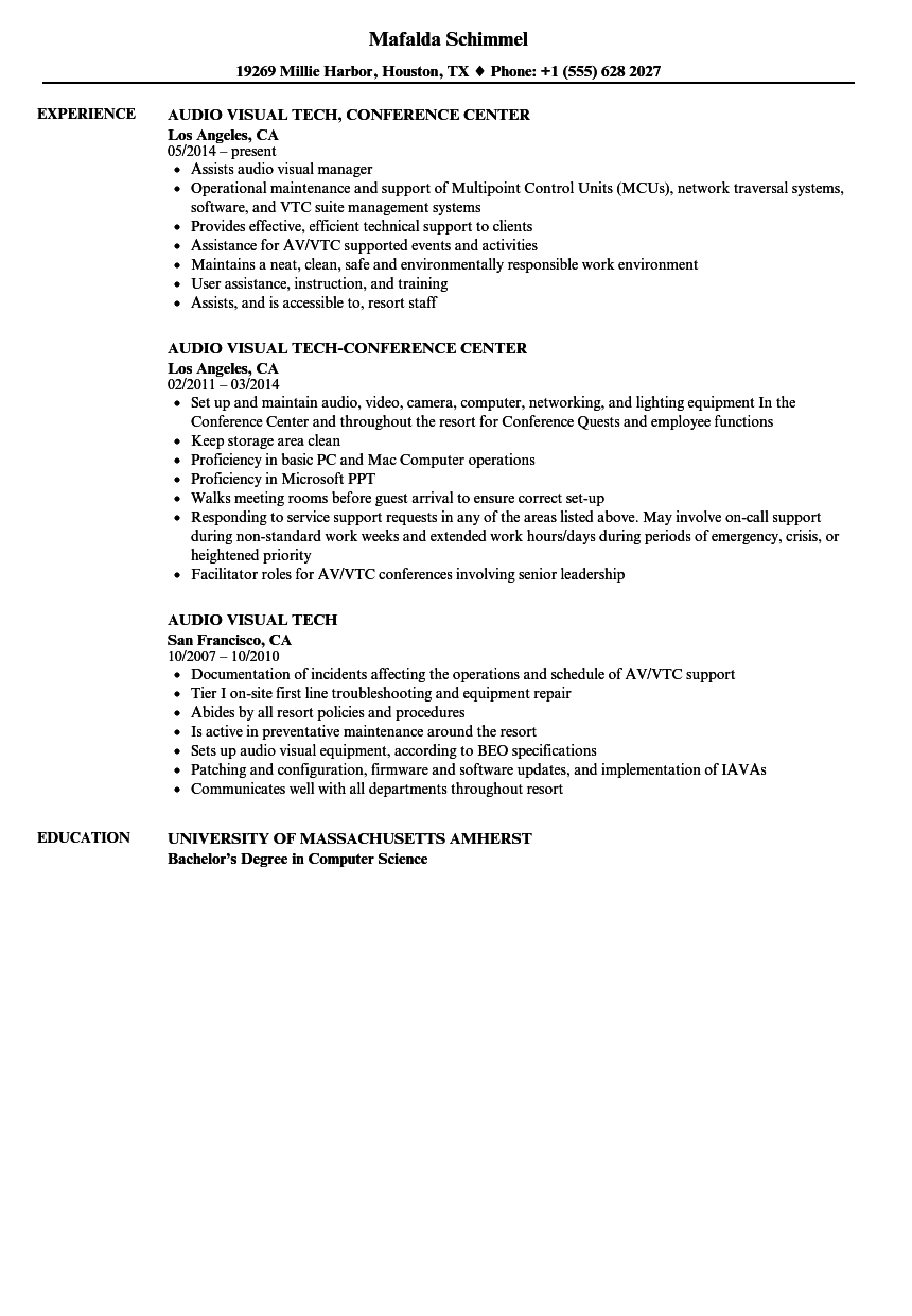 Audio Visual Tech Resume Samples Velvet Jobs