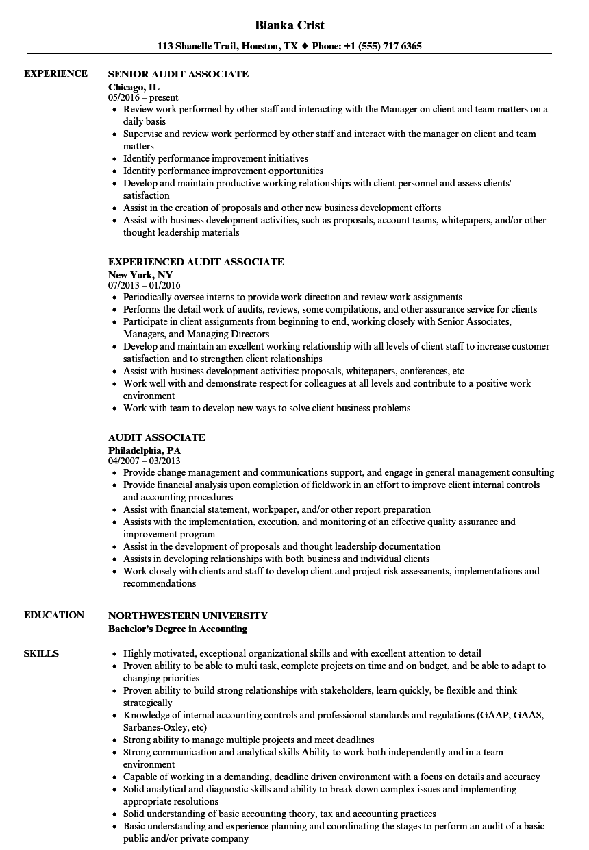 Great Velvet Jobs With Audit Associate Resume