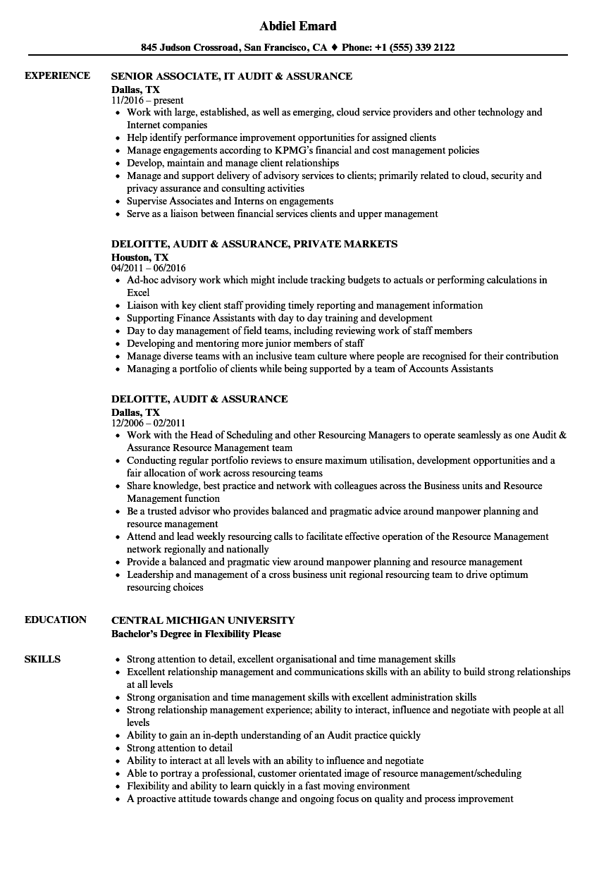 audit  u0026 assurance resume samples