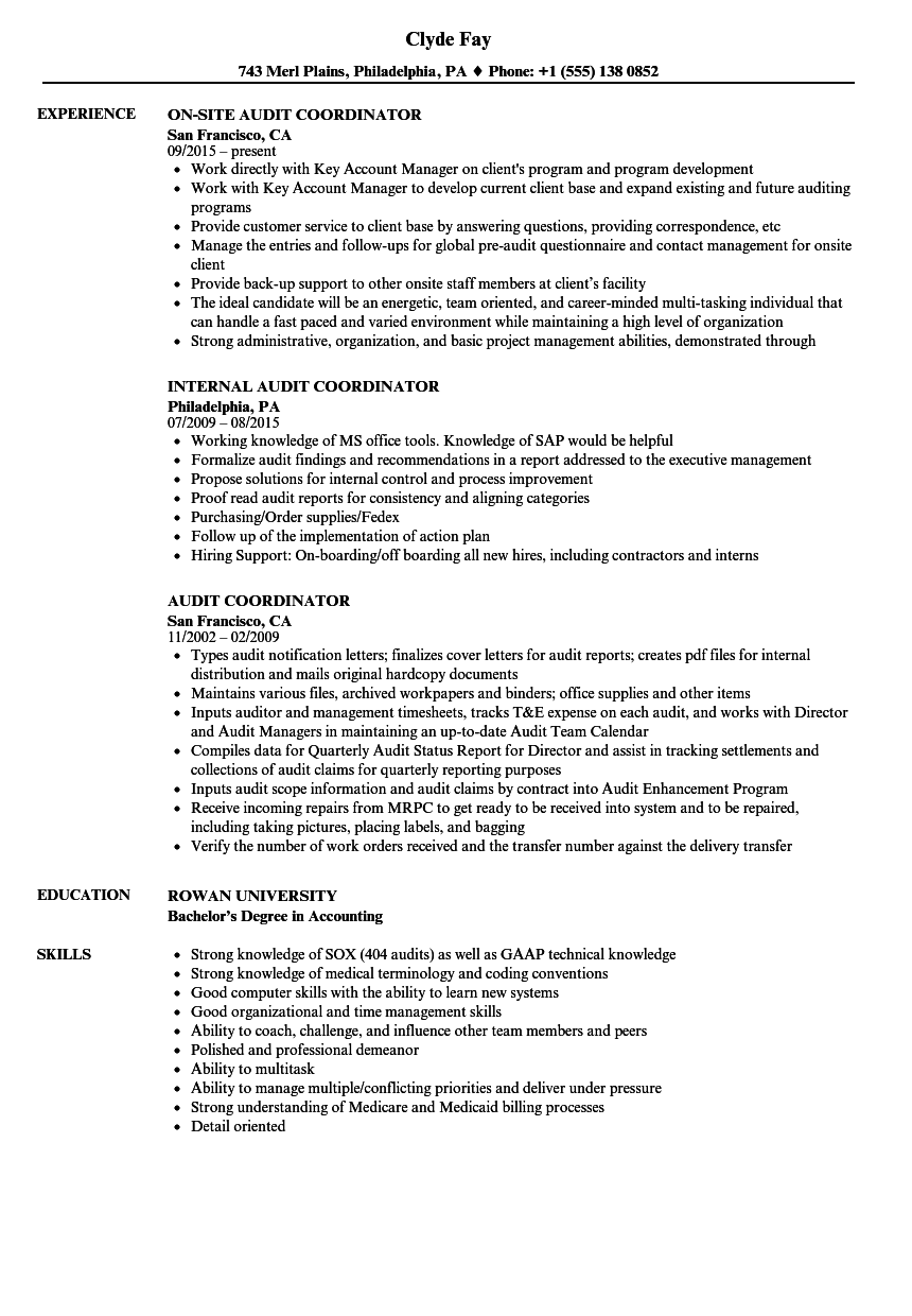 audit coordinator resume samples