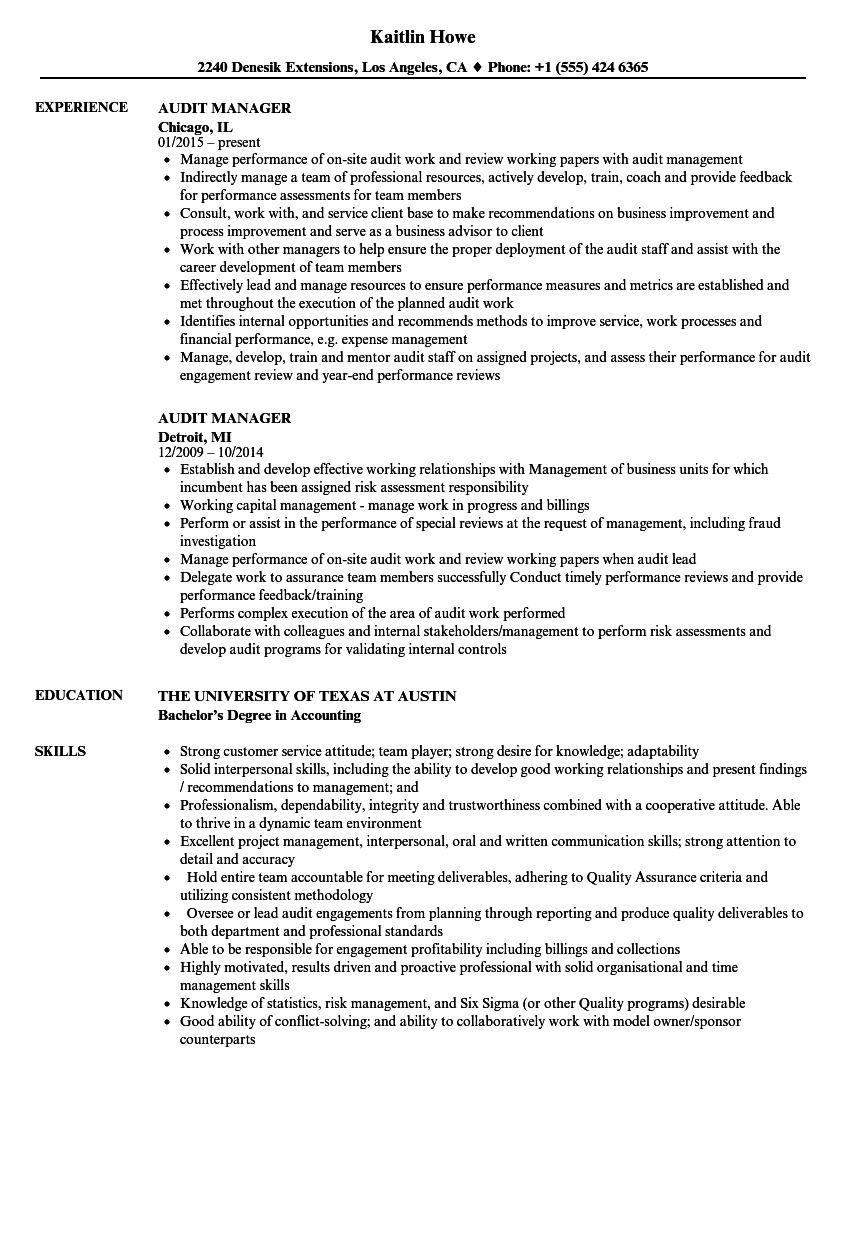 Audit Manager Resume Samples | Velvet Jobs