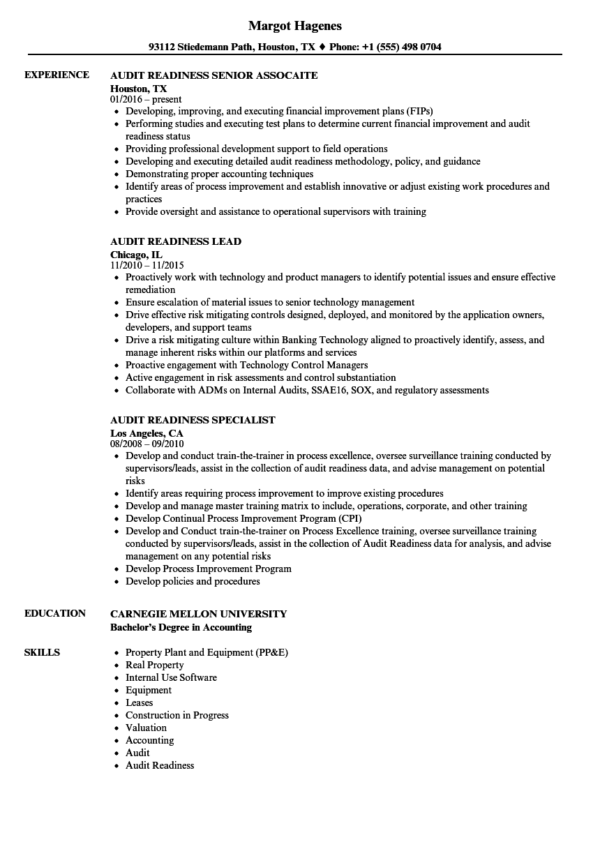 Audit Readiness Resume Samples | Velvet Jobs