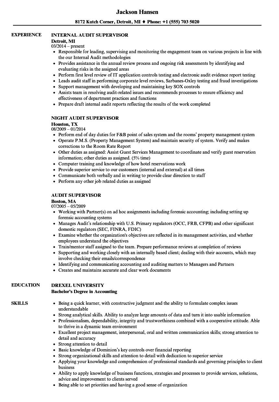 Audit Supervisor Resume Samples | Velvet Jobs