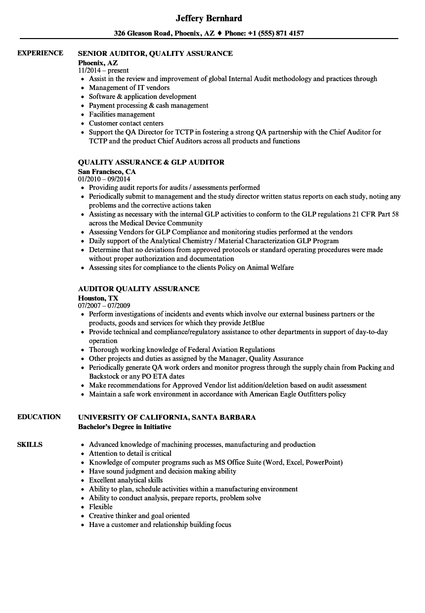 Auditor Quality Assurance Resume Samples | Velvet Jobs