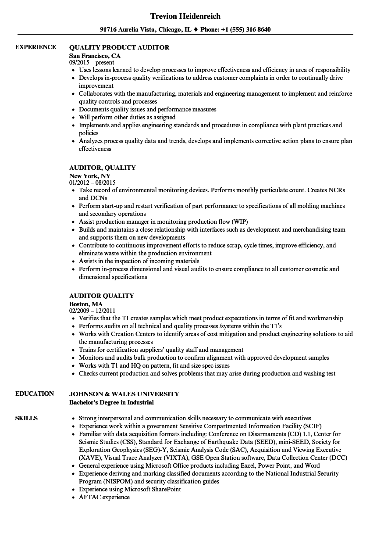 Auditor, Quality Resume Samples | Velvet Jobs
