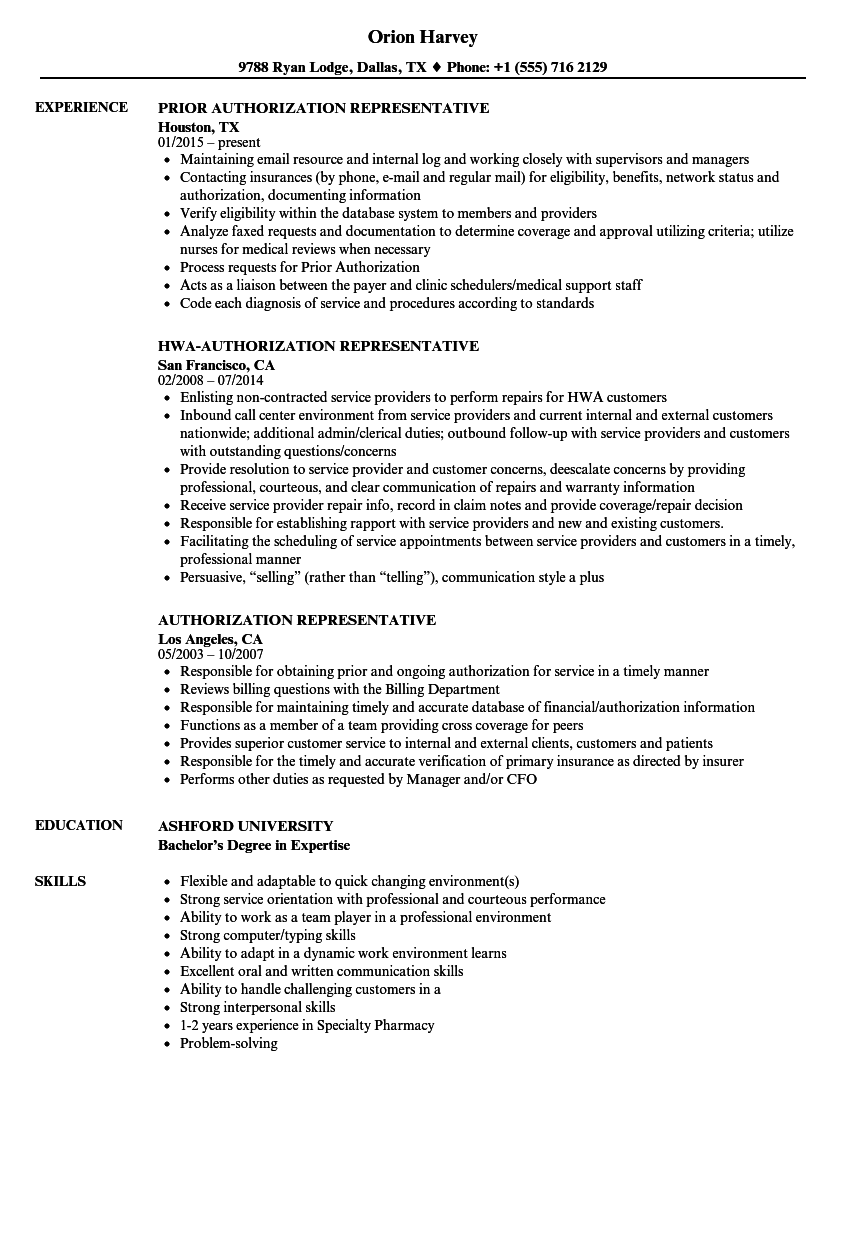 authorization representative resume samples