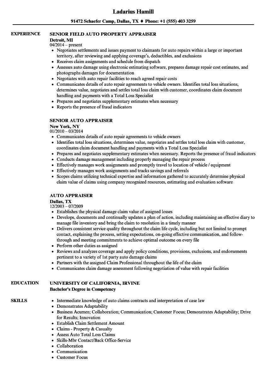 auto appraiser resume samples