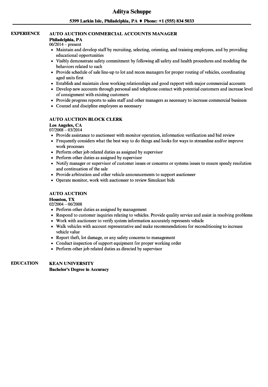 Auto Auction Resume Samples Velvet Jobs