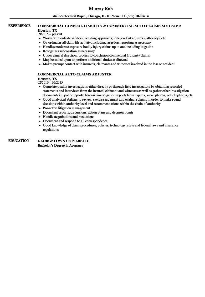 download auto claims adjuster resume sample as image file - Claims Adjuster Resume