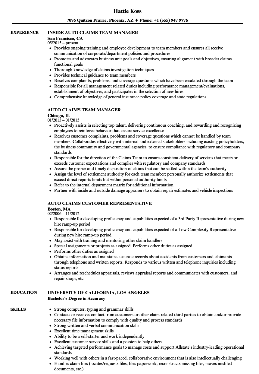 auto claims resume samples