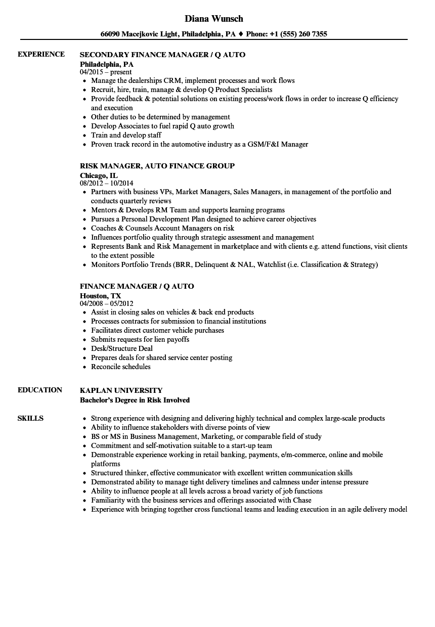 Download Auto Finance Manager Resume Sample As Image File
