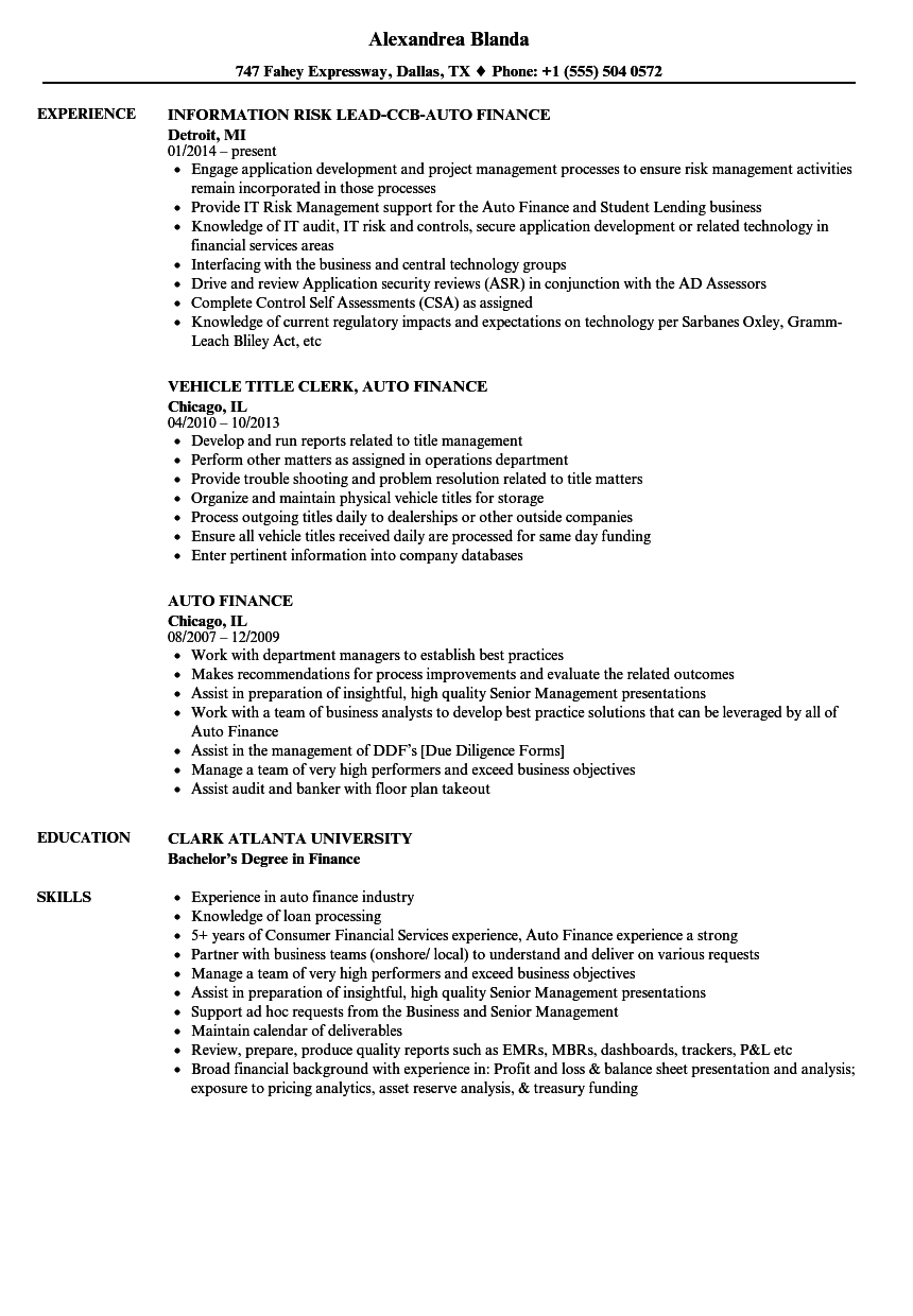 Auto Finance Resume Samples  Velvet Jobs
