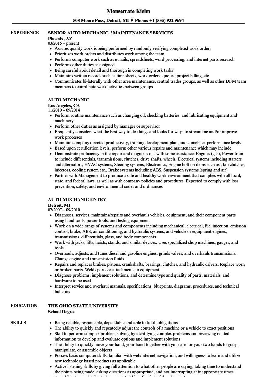 Auto Mechanic Resume Samples | Velvet Jobs