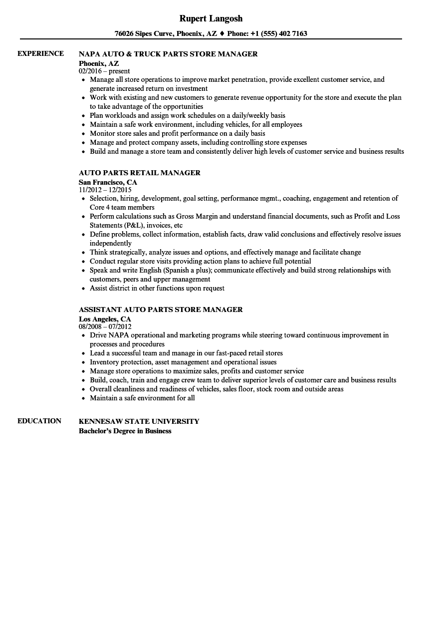 Auto Parts Manager Resume Samples | Velvet Jobs