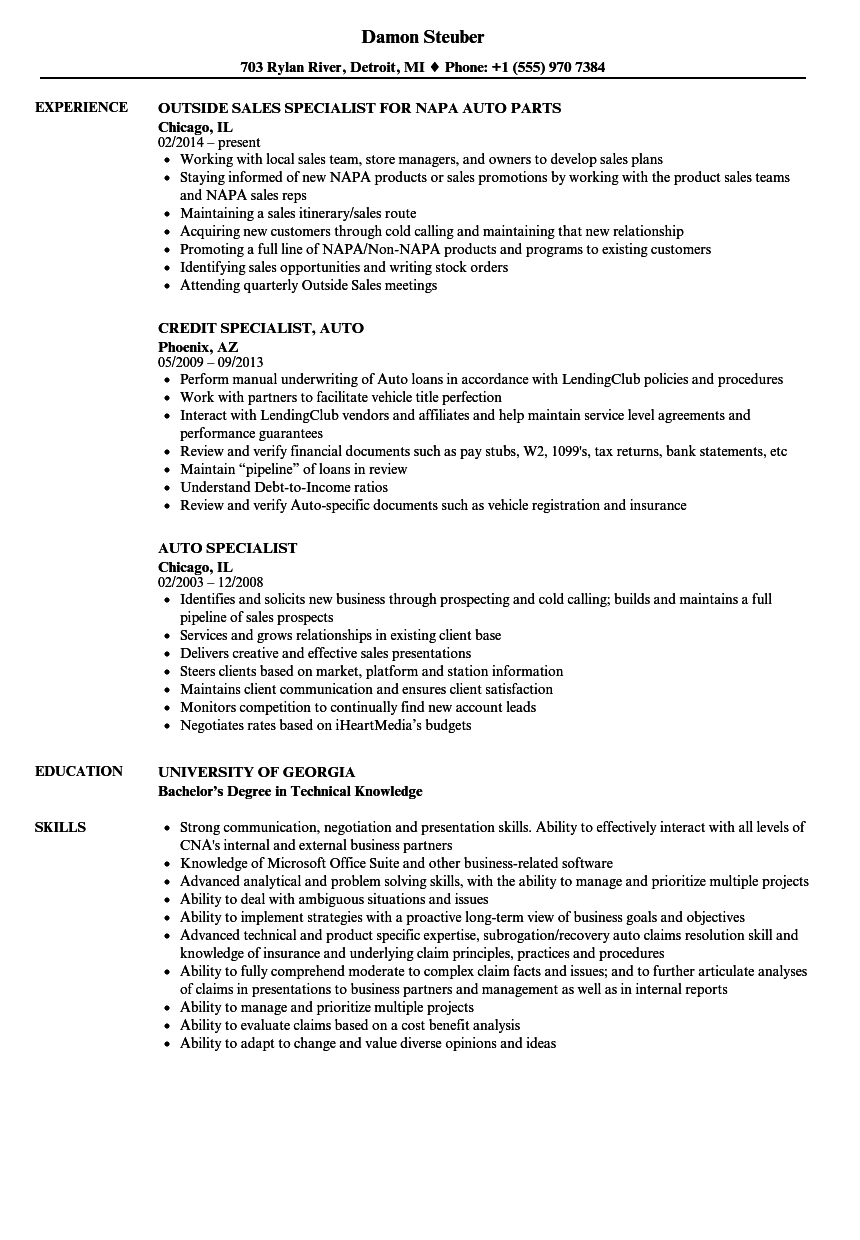 auto specialist resume samples