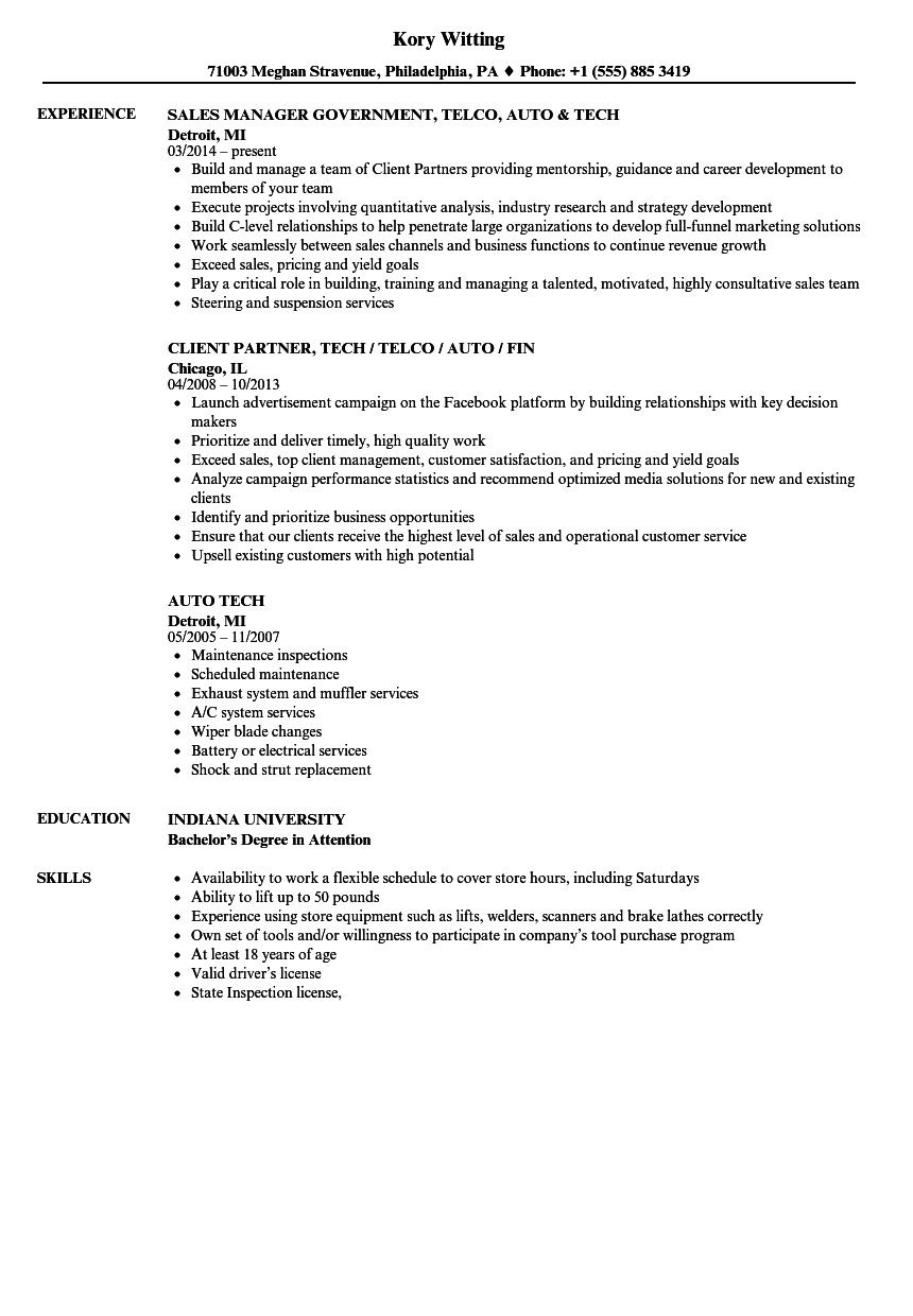 Auto Tech Resume Samples Velvet Jobs