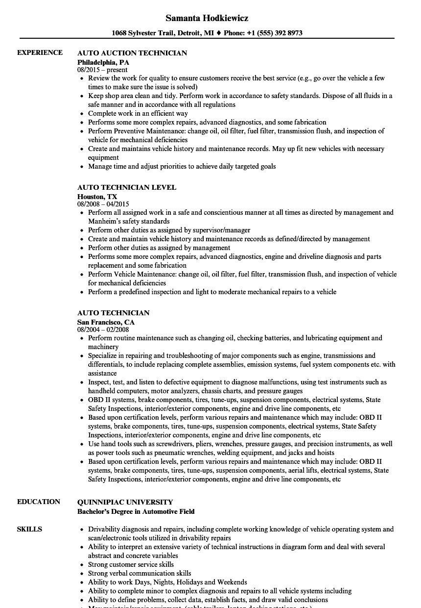 sample automotive technician resume