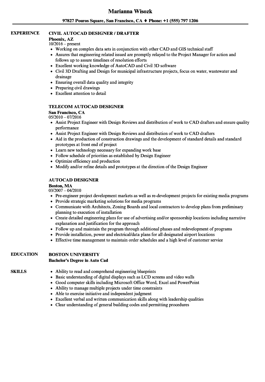 autocad designer resume samples