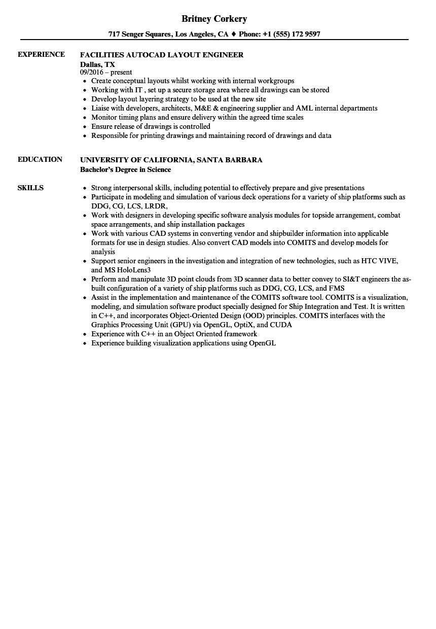autocad engineer resume samples velvet jobs