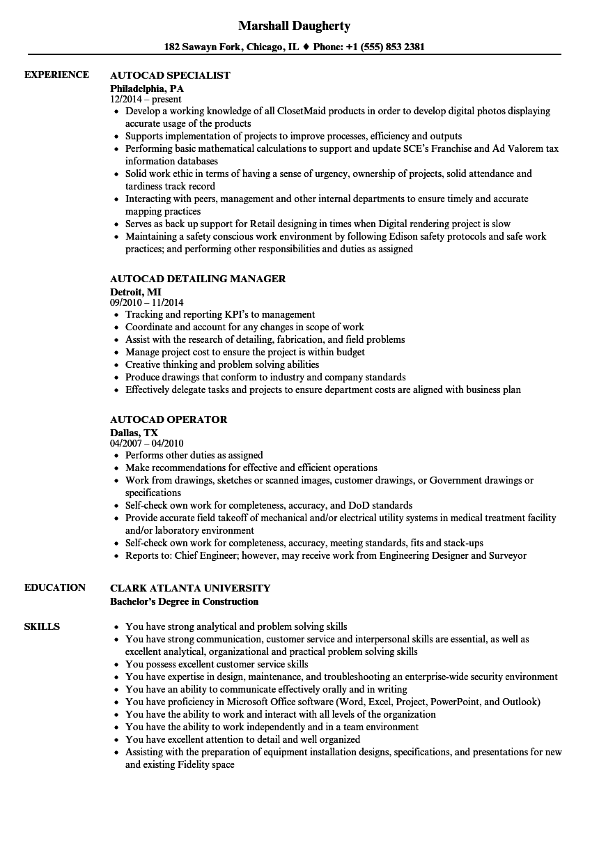Autocad Resume Samples Velvet Jobs
