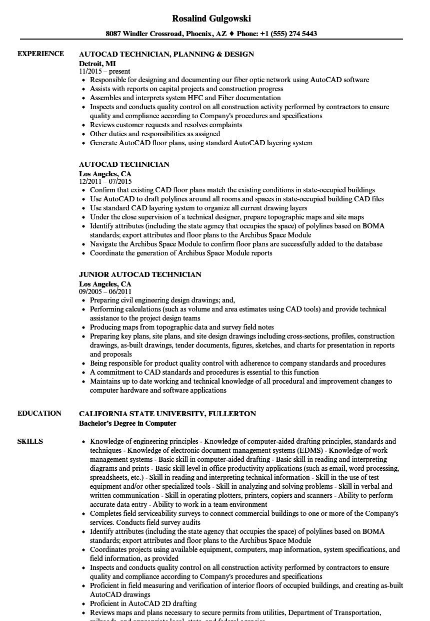 autocad technician resume samples