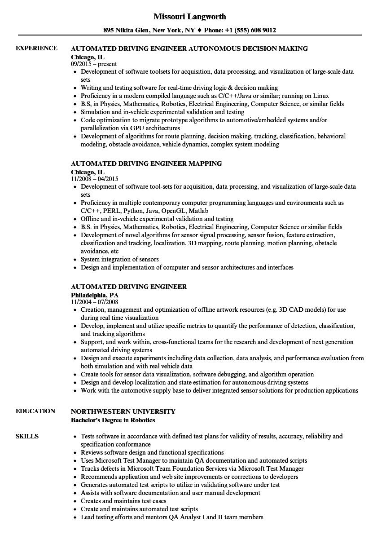 automated engineer resume samples