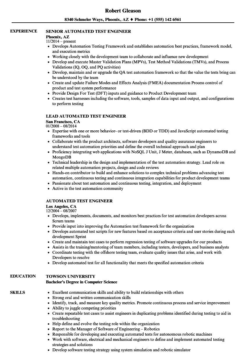 Automated Test Engineer Resume Samples | Velvet Jobs