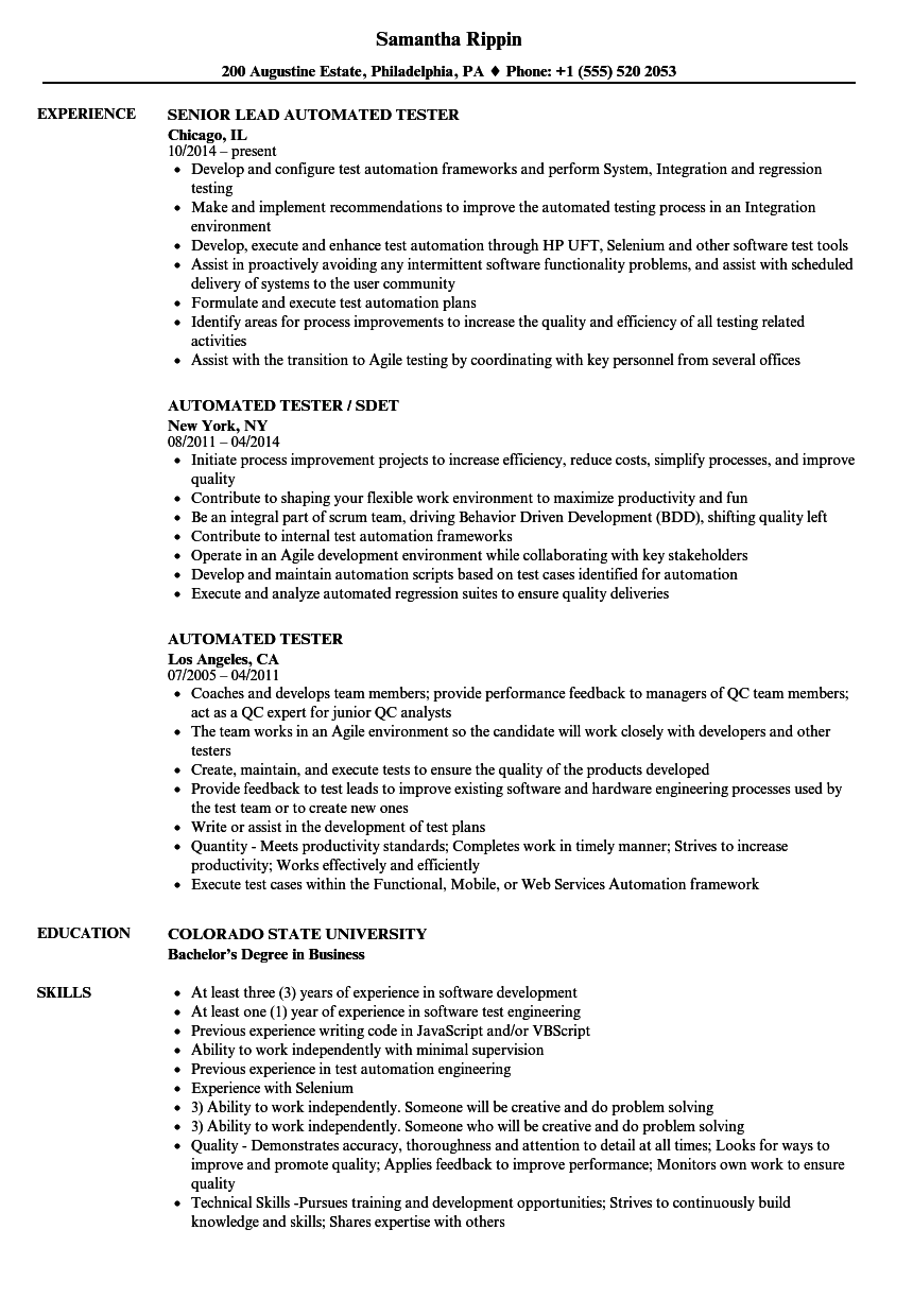 Automated Tester Resume Samples | Velvet Jobs