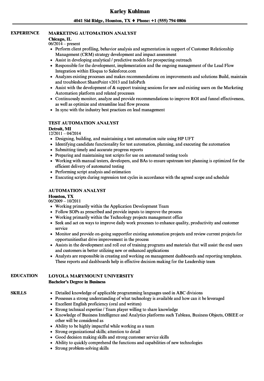 automation analyst resume samples