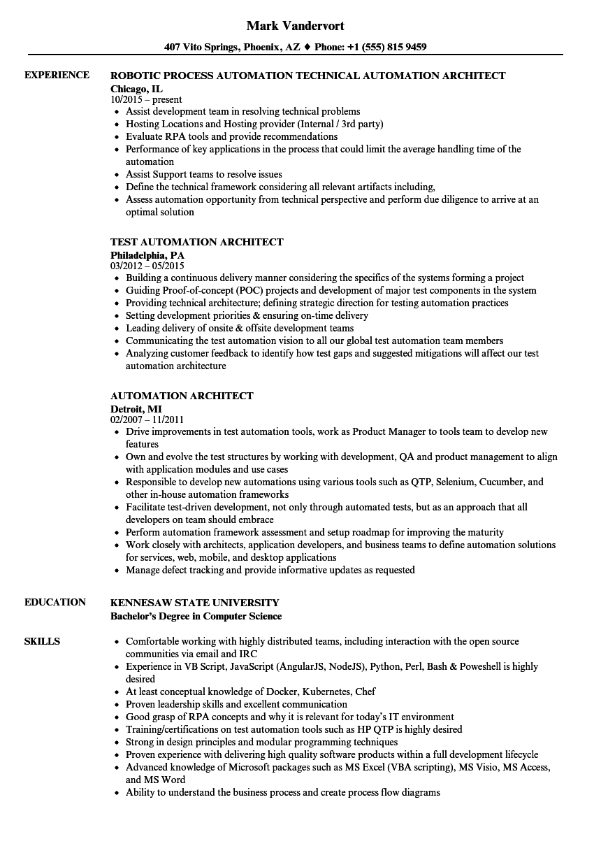 Automation Architect Resume Samples | Velvet Jobs
