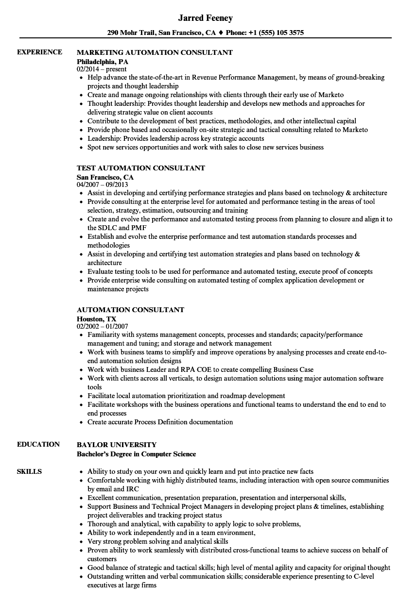 automation consultant resume samples