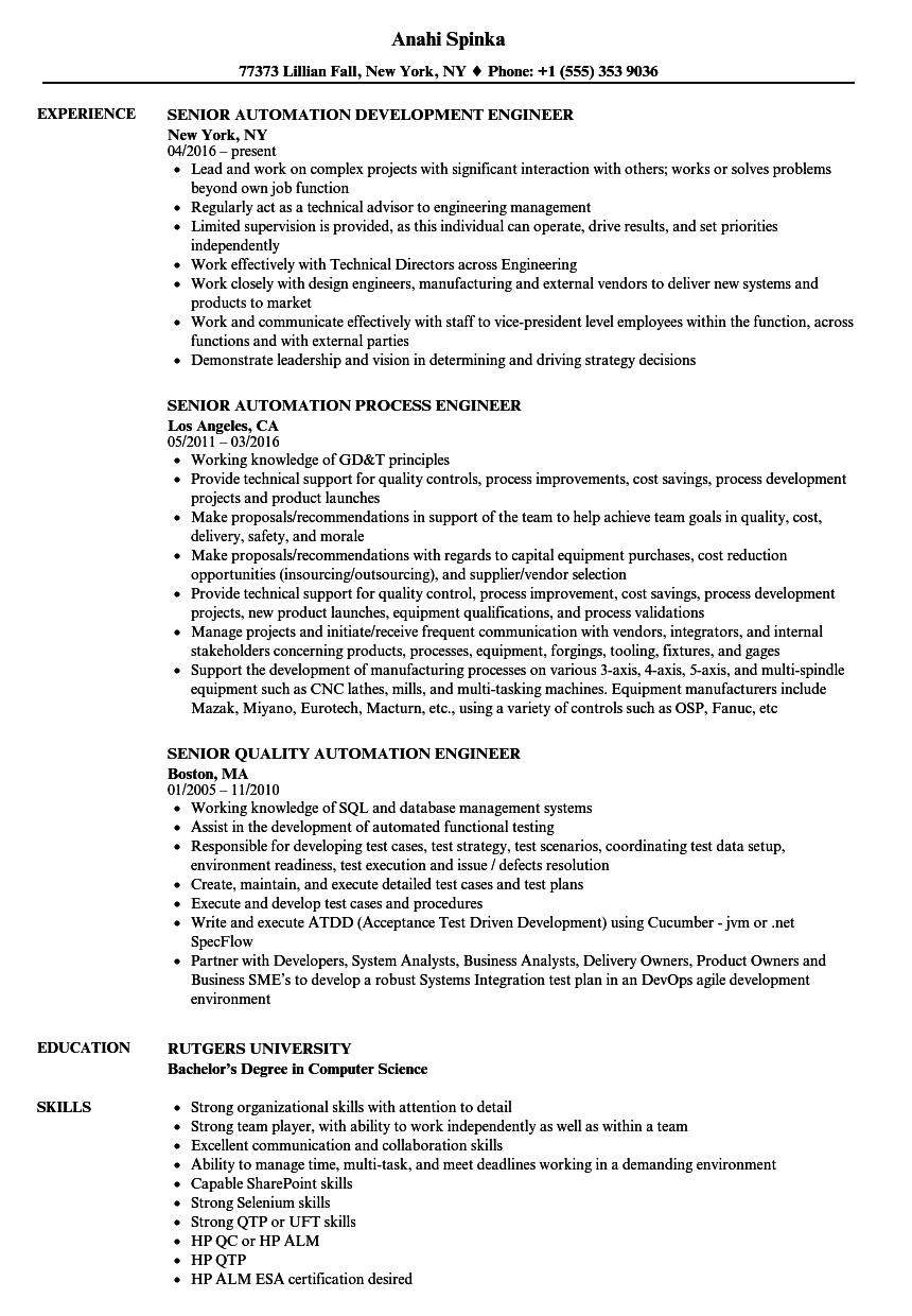 Automation Engineer, Senior Resume Samples | Velvet Jobs
