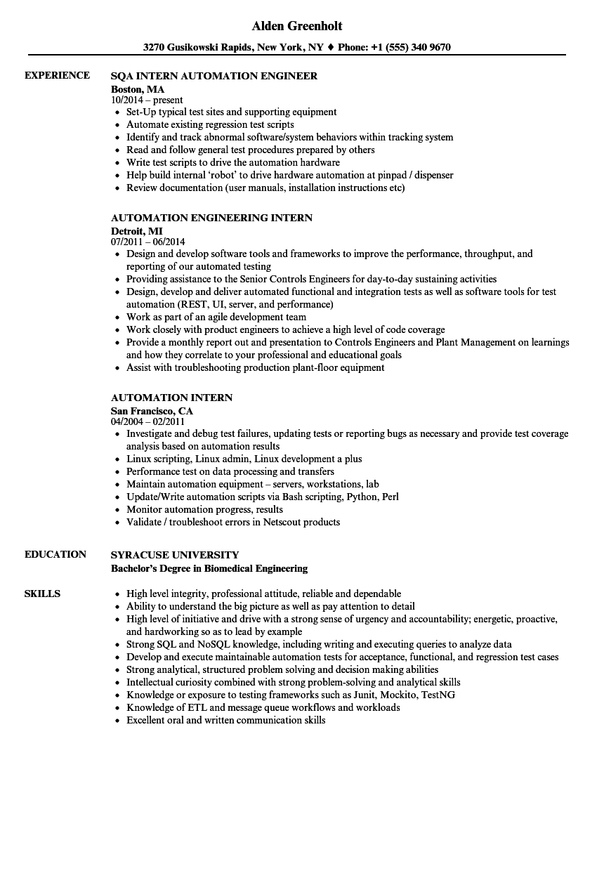 Automation Intern Resume Samples | Velvet Jobs