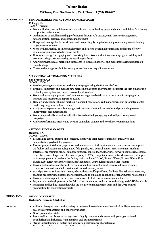 Automation Manager Resume Samples | Velvet Jobs