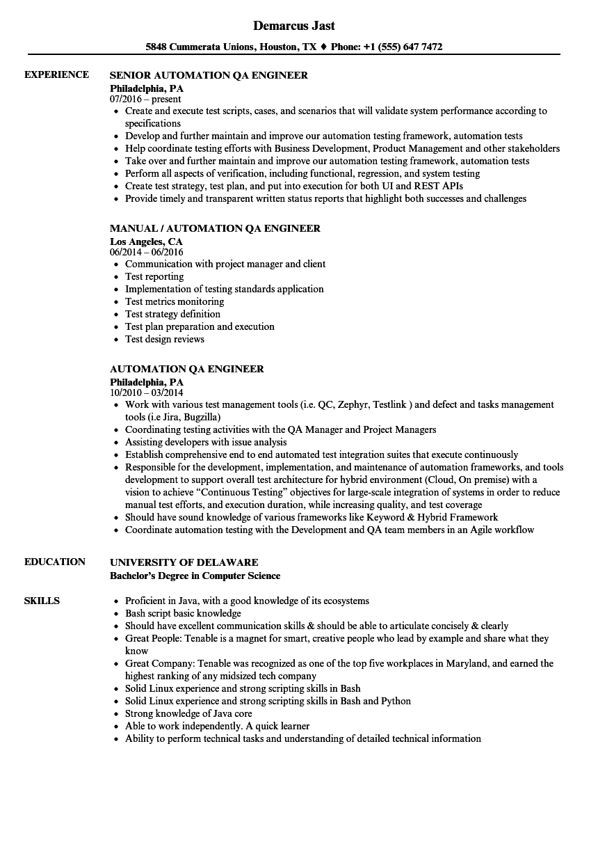 Automation QA Engineer Resume Samples | Velvet Jobs
