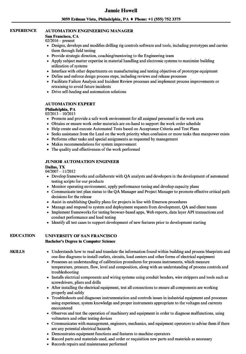 automation resume samples
