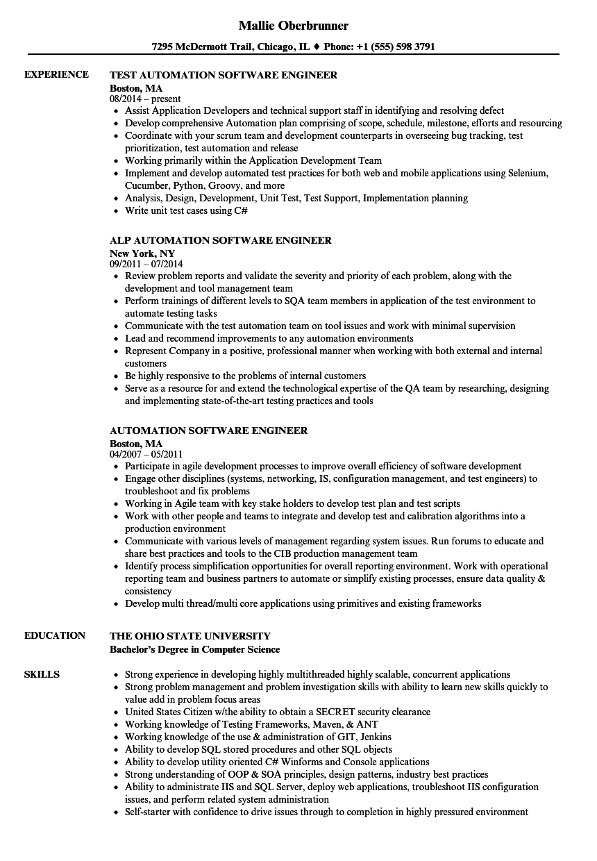 automation software engineer resume samples