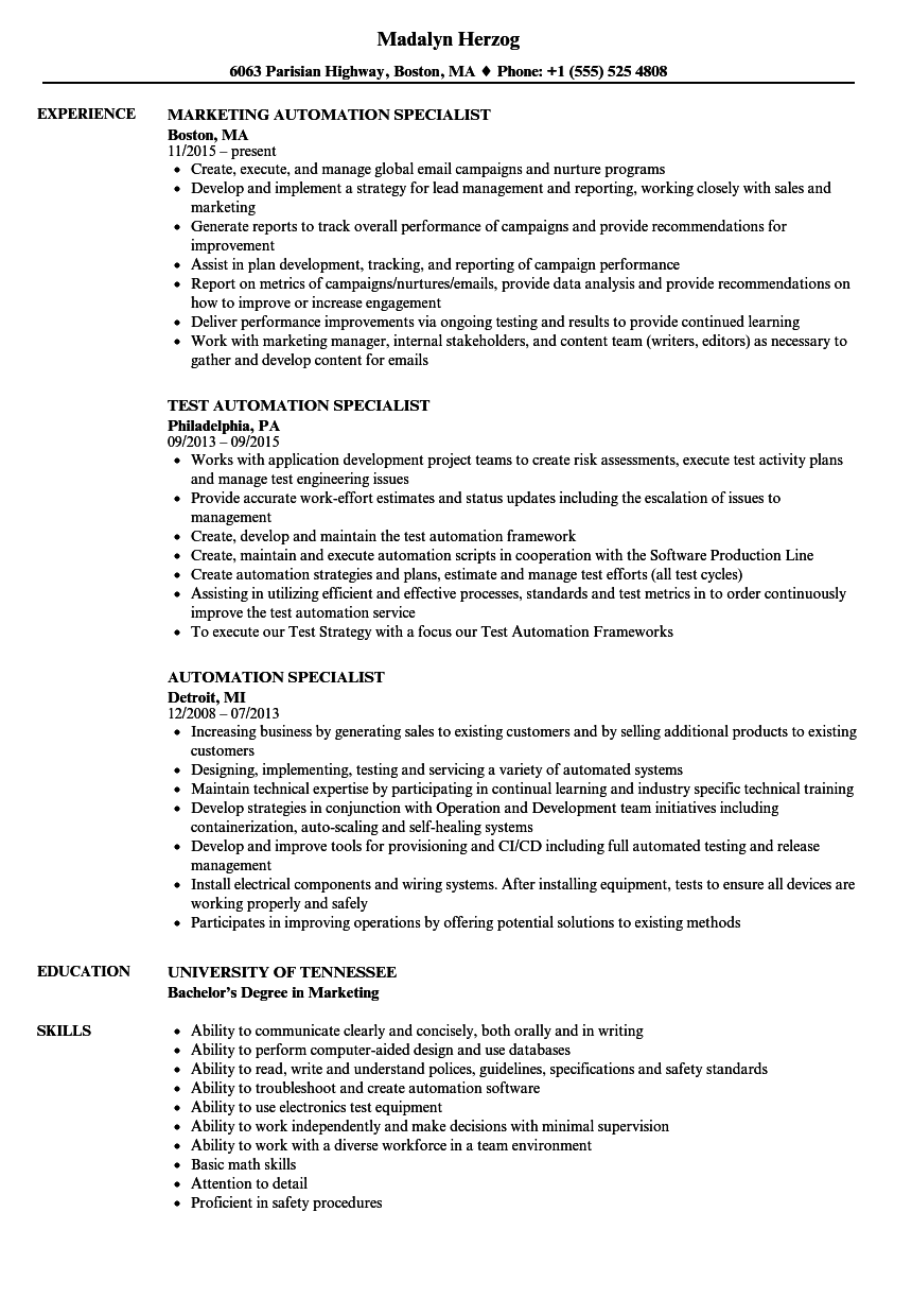 automation specialist resume samples