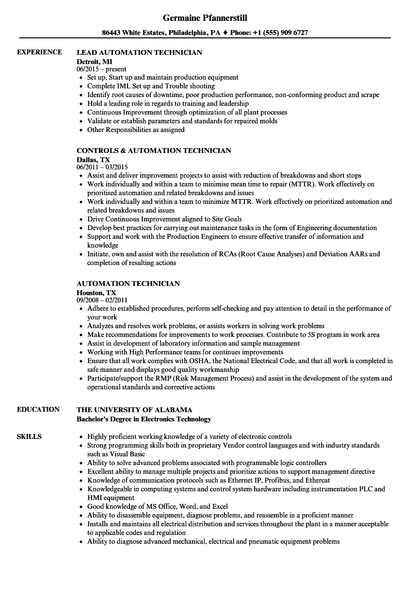Automation Technician Resume Samples | Velvet Jobs