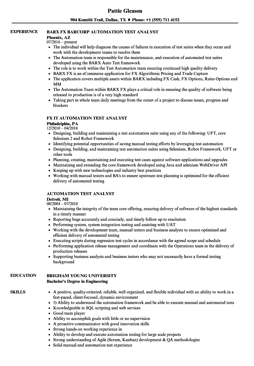 Automation Test Analyst Resume Samples | Velvet Jobs