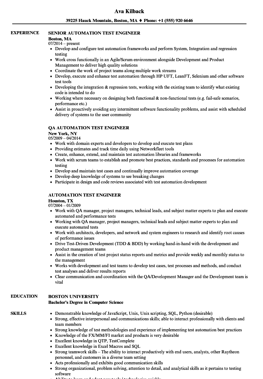 Automation test engineer resume samples velvet jobs for Sample resume for software test engineer with experience