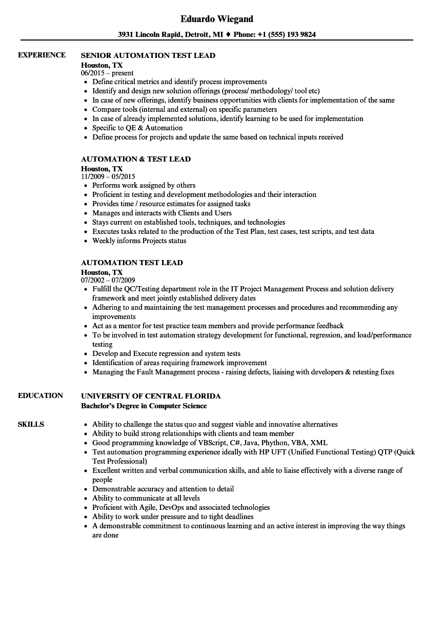 Automation Test Lead Resume Samples | Velvet Jobs