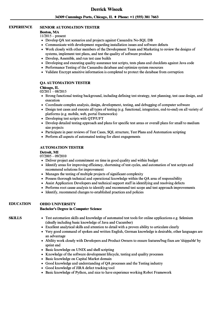 Automation Tester Resume Samples | Velvet Jobs