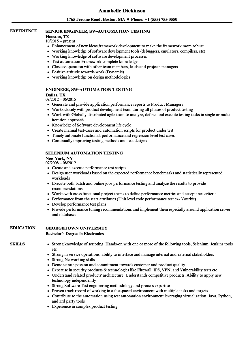 sample resume for 1 year experience in manual testing - automation testing resume samples velvet jobs