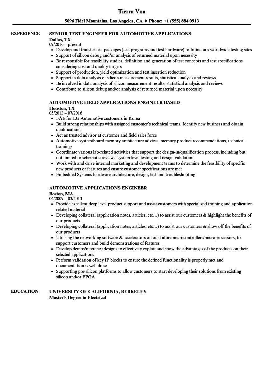 Download Automotive Applications Engineer Resume Sample As Image File