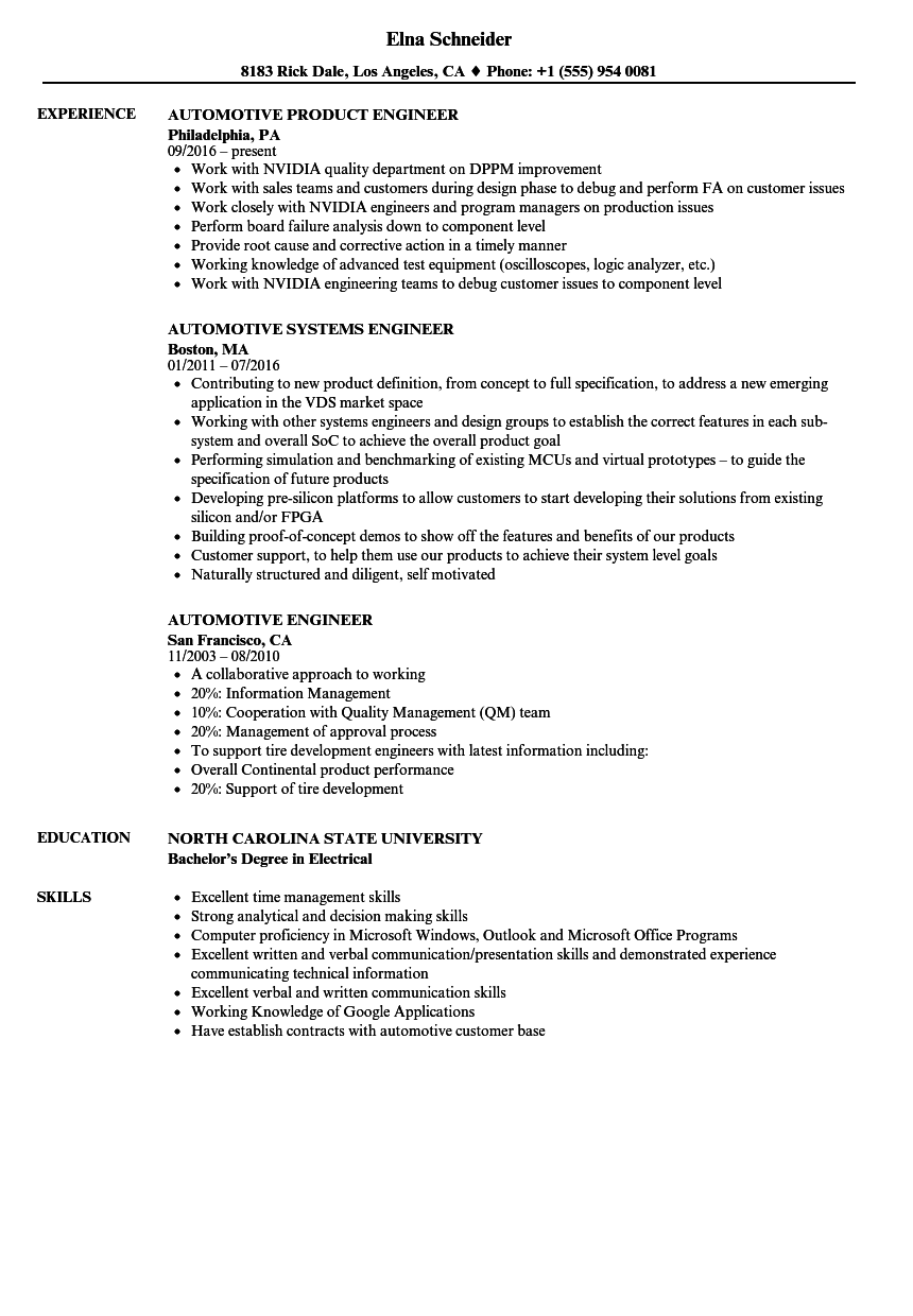 Automotive Engineer Resume Vvengelbert Nl
