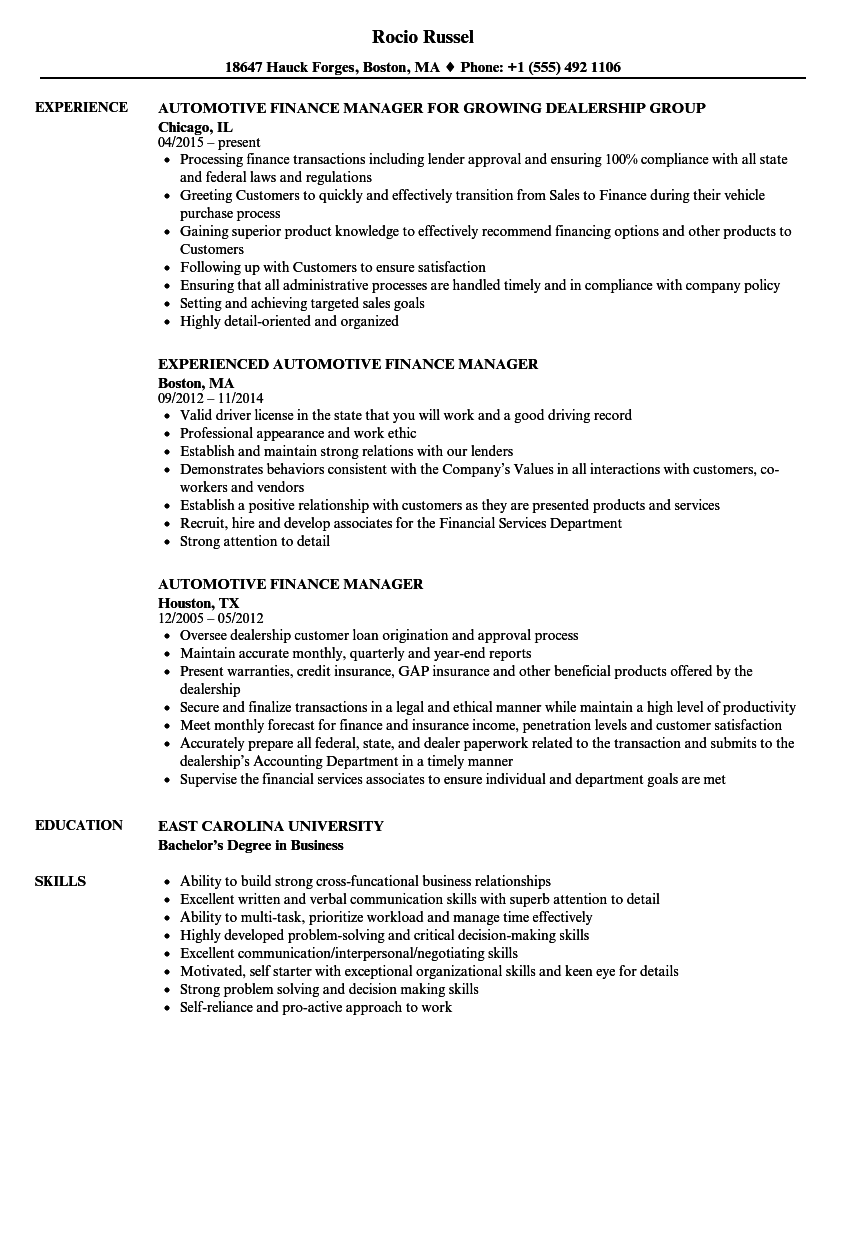 Automotive Finance Manager Resume Samples | Velvet Jobs