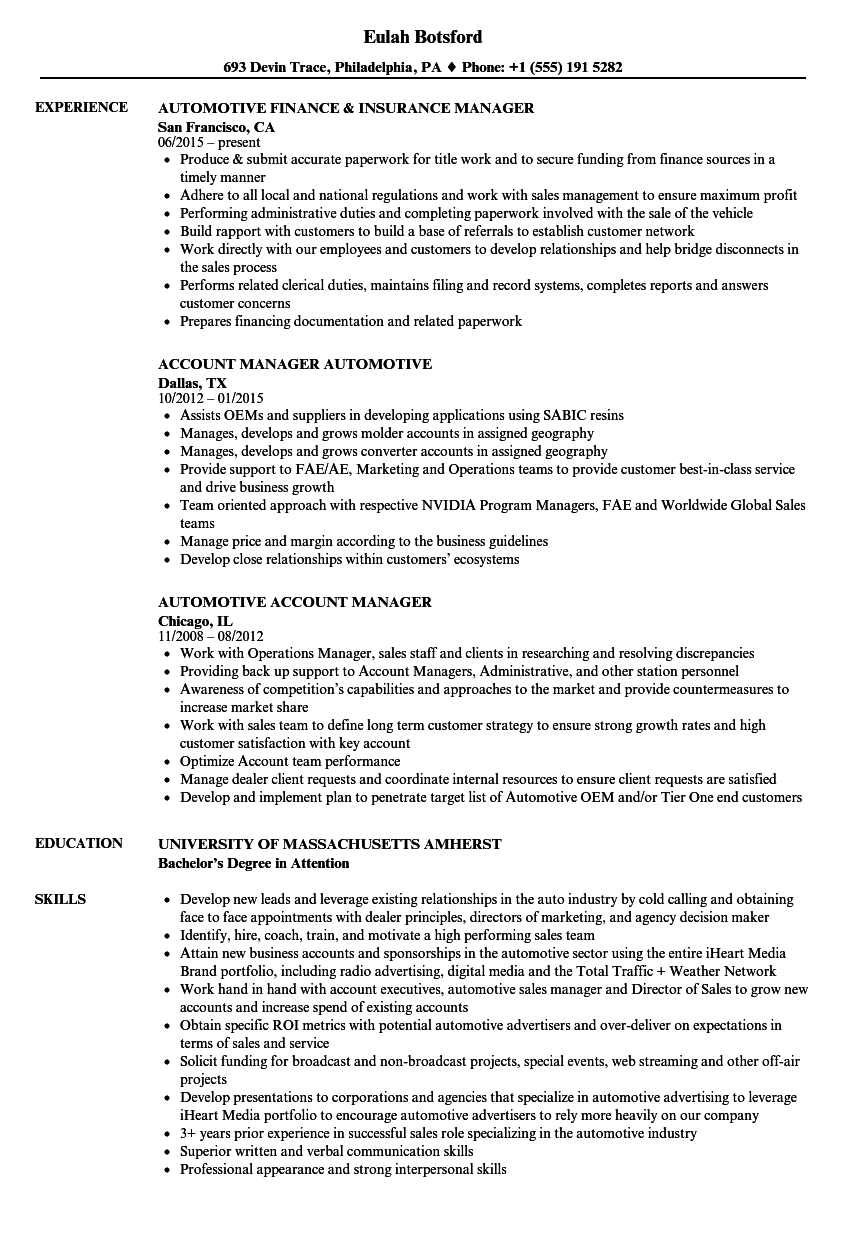 automotive manager resume samples