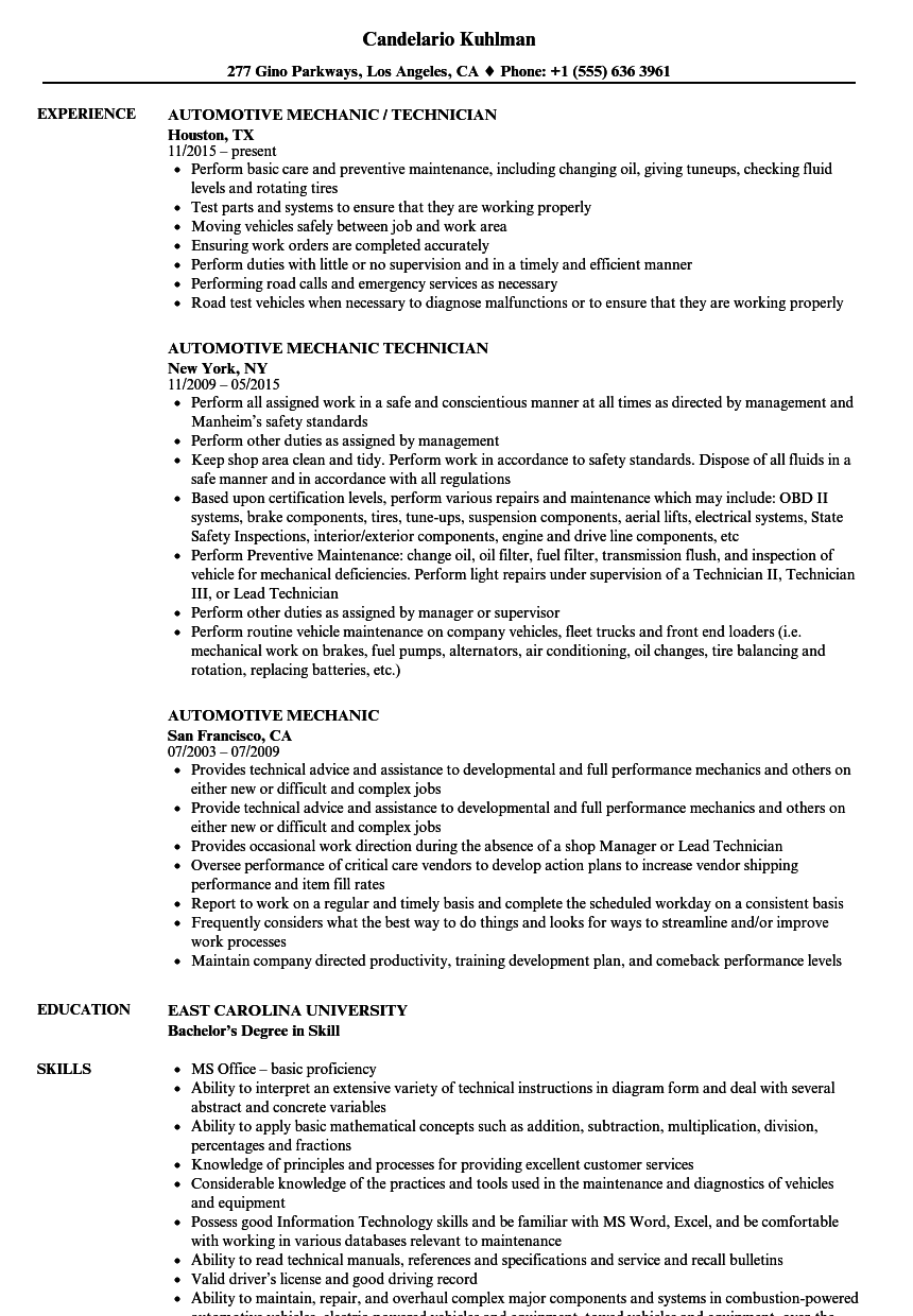 Automotive Mechanic Resume Samples | Velvet Jobs