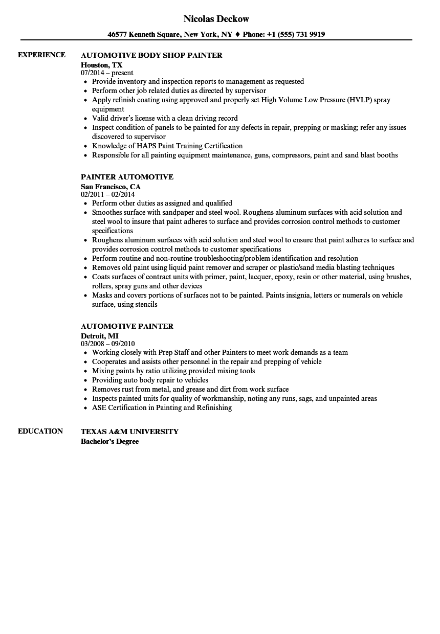 Automotive Painter Resume Samples | Velvet Jobs